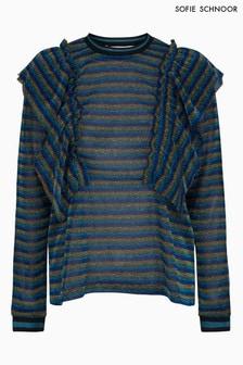 Sofie Schnoor Blue Stripe Ruffle Blouse