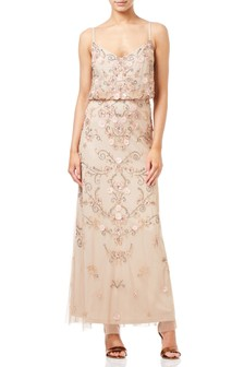 Adrianna Pappel Natural Beaded Floral Blouson Gown