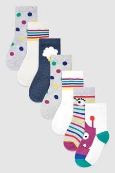 Monster Seven Pack Socks (Younger)