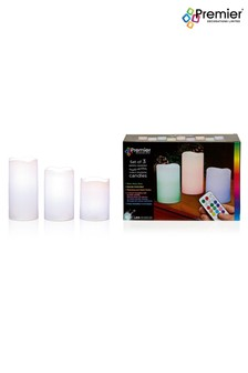 Set of 3 Premier Decorations Ltd Colour Change LED Candles