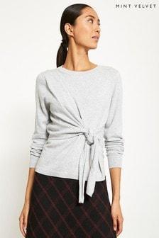 Mint Velvet Grey Tie Front Knit