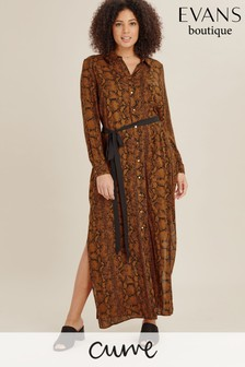 Evans Multi Dark Curve Rust Snake Shirt Dress
