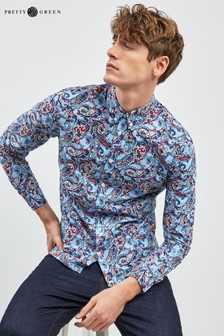 Pretty Green Navy Paisley Print Shirt