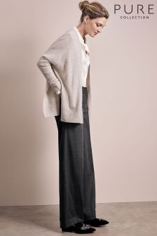 Pure Collection Charcoal Marl Tailored Wide Leg Trouser