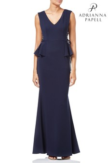 Adrianna Papell Blue Long Knit Crepe Dress
