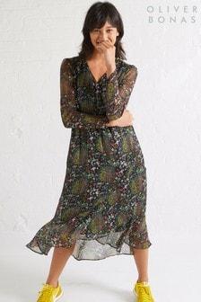 Oliver Bonas Black Storyteller Print Wrap Dress