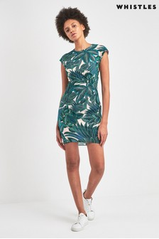 Whistles Blue Palm Print Silk Bodycon Dress