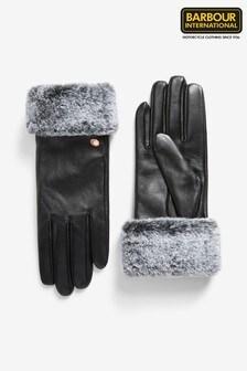 Barbour® International Black Faux Fur Trim Leather Gloves