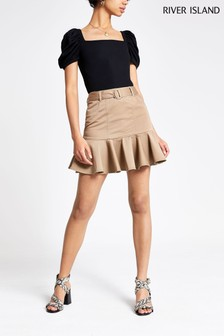 River Island Stone Frill Hem Mini Skirt
