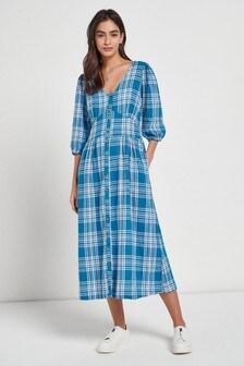Linen Blend Midi Tea Dress