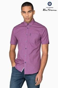Ben Sherman Pink Short Sleeve Gingham Shirt
