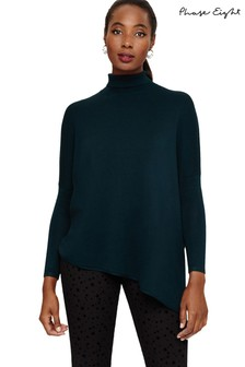 Phase Eight Blue Melinda Roll Neck Knit Jumper