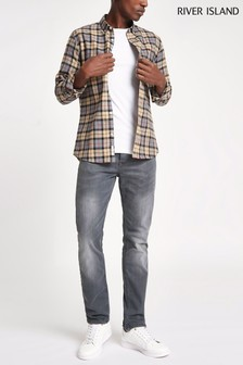 River Island Grey Washed Fade Slim Fit Jean