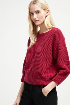French Connection Purple Pleated Waist Jumper