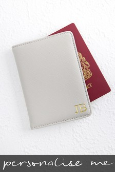 Personalised Grey Passport Holder
