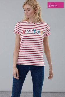 Joules Red Nessa Print Lightweight Jersey T-Shirt