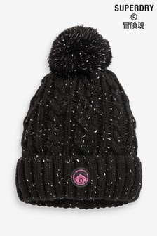 Superdry Black Cable Beanie