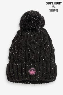 Čierna pletená čiapka Superdry