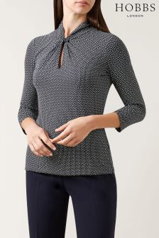 Hobbs Blue Sleeved Amber Top