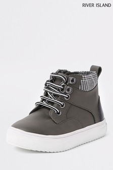 River Island Grey Lace Up Boot