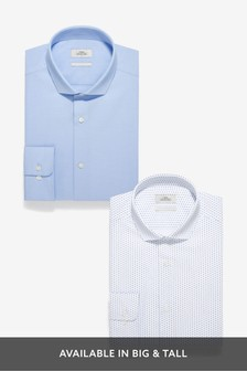 Slim Fit Textured And White Print Shirts Two Pack