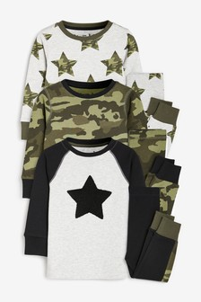 3 Pack Camo Star Snuggle Pyjamas (9mths-12yrs)