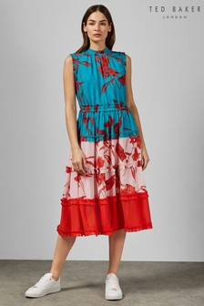 Ted Baker Turquoise Camelis Fantasia Mish Mash Midi Dress