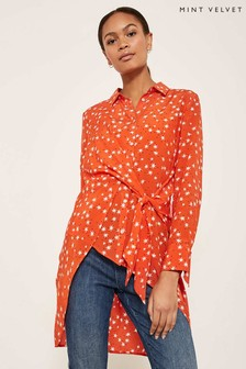 Mint Velvet Orange Star Print Tie Front Shirt