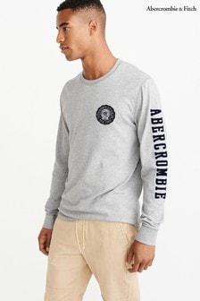 Abercrombie & Fitch 灰色長袖貼花恤衫