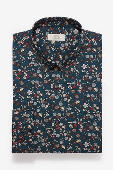 Regular Fit Single Cuff Cotton Floral Print Shirt