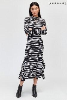 Warehouse Black Pattern Zebra Asymmetric Knitted Dress
