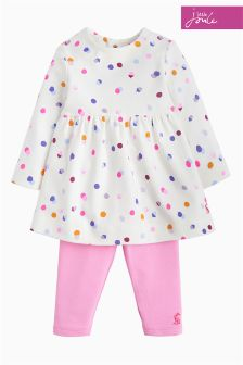 Joules Cream Spot Baby Christina Dress Set