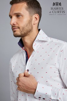 Hawes And Curtis White/Red Woven Design Cuff Shirt