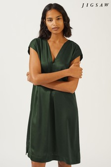Jigsaw Green Sandwashed Satin Silk V Dress
