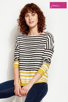 Joules Rima Stripe Button Back Jersey Top