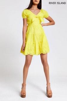River Island Fluro Yellow Midi Amj Waisted Dress