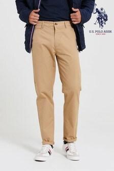 U.S. Polo Assn. Cream Slim Chino Trousers