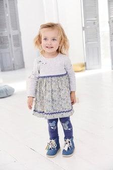 طقم مكون من فستان وبنطلون ضيق (3 شهور -7 سنوات)