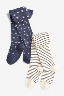 2 Pack Star And Stripe Tights