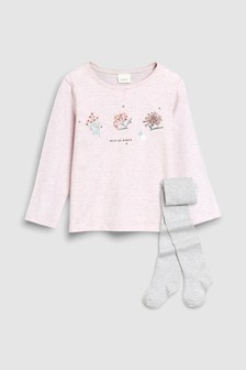 Long Sleeve Floral Top And Tights (3mths-7yrs)