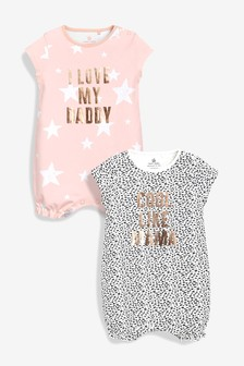 e80dbff7db6b Mummy And Daddy Slogan Rompers Two Pack (0mths-2yrs)