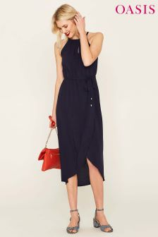 Oasis Blue Viscose Key Hole Midi Dress