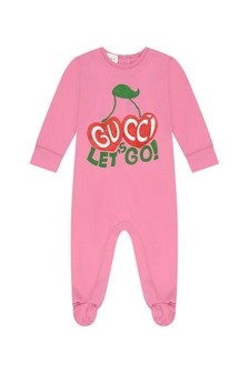 Baby Girls Pink Cotton Cherry Print Babygrow