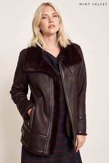 Mint Velvet Burgundy Aviator Jacket