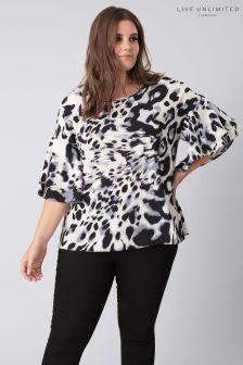 Live Unlimited Grey Animal Print Ruffle Sleeve Top