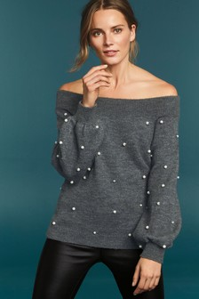 Pearl Embellished Bardot Chunky Sweater
