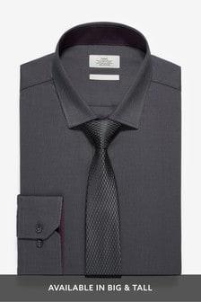 Рубашка из хлопковой ткани с отливом и галстук