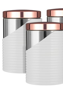 Set of 3 Tower White And Rose Gold Cannisters