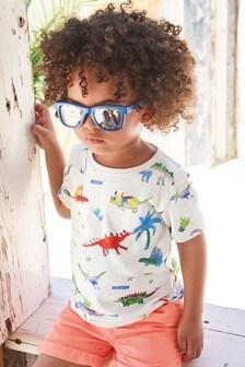 Camiseta de maga corta con diseño de dinosaurio (3 meses-7 años)