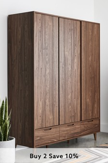 Oslo Walnut Triple Wardrobe